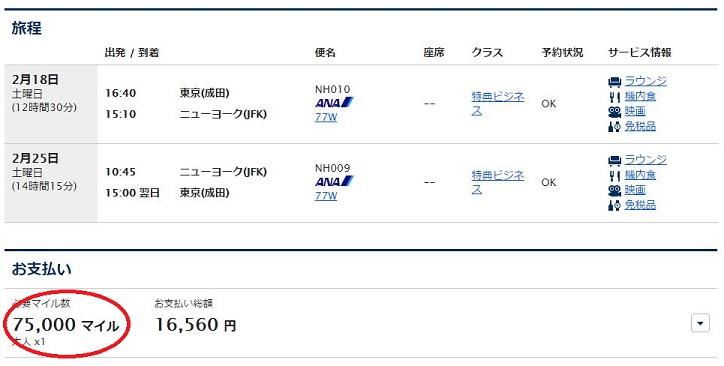 成田-NYビジネス特典